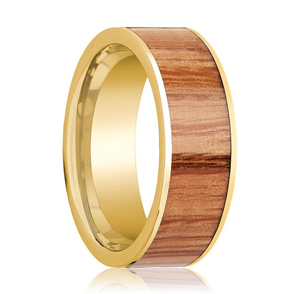 Mens Wedding Band 14k Yellow Gold with Red Oak Wood Inlay - 8mm - AydinsJewelry