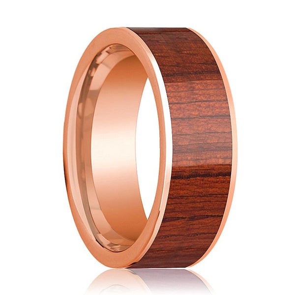 Mens Wedding Band Polished Flat 14k Rose Gold Wedding Ring with Padauk Wood Inlay - 8mm - AydinsJewelry