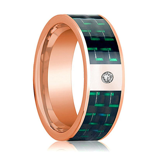 Mens Wedding Band 14K Rose Gold and Diamond with Black & Green Carbon Fiber Inlay Flat Polished Design - AydinsJewelry