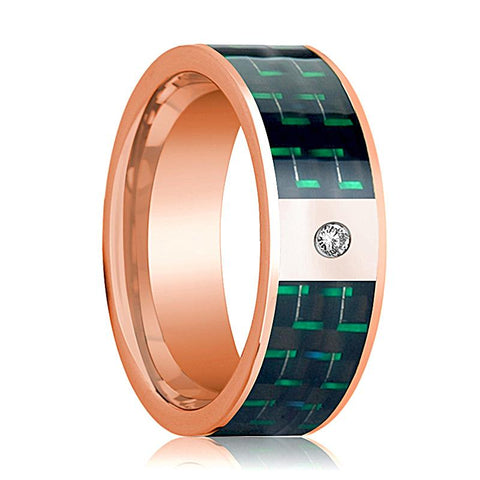 Image of Mens Wedding Band 14K Rose Gold and Diamond with Black & Green Carbon Fiber Inlay Flat Polished Design - AydinsJewelry