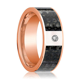 ANZU Dinosaur Bone Ring Flat Polished 14K Rose Gold and Diamond - Rings - Aydins_Jewelry