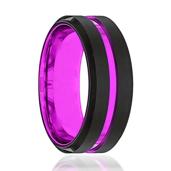 Black And Purple Tungsten - Mens Wedding Band - Tungsten Ring - Passionate Purple - Beveled Edge - Tungsten Wedding Band - AydinsJewelry