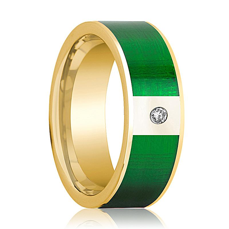 Mens Wedding Band 14K Yellow Gold with Textured Green Inlay and Diamond Flat Polished Design - AydinsJewelry