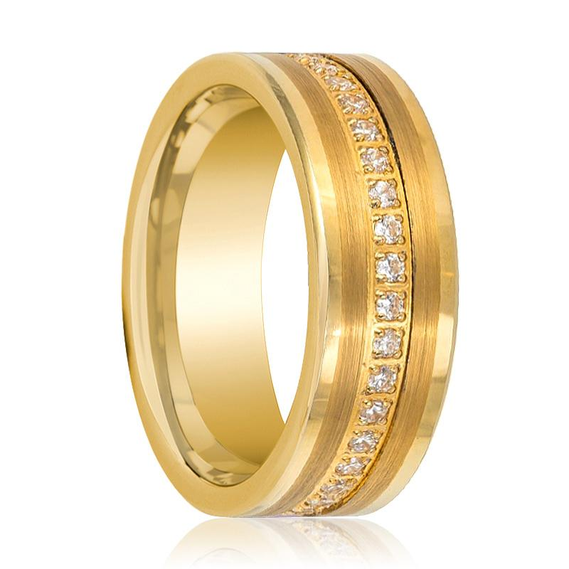 Gold Flat Tungsten Wedding CZ Eternity Band With White Diamond Inlay Polished Finish - Rings - Aydins_Jewelry