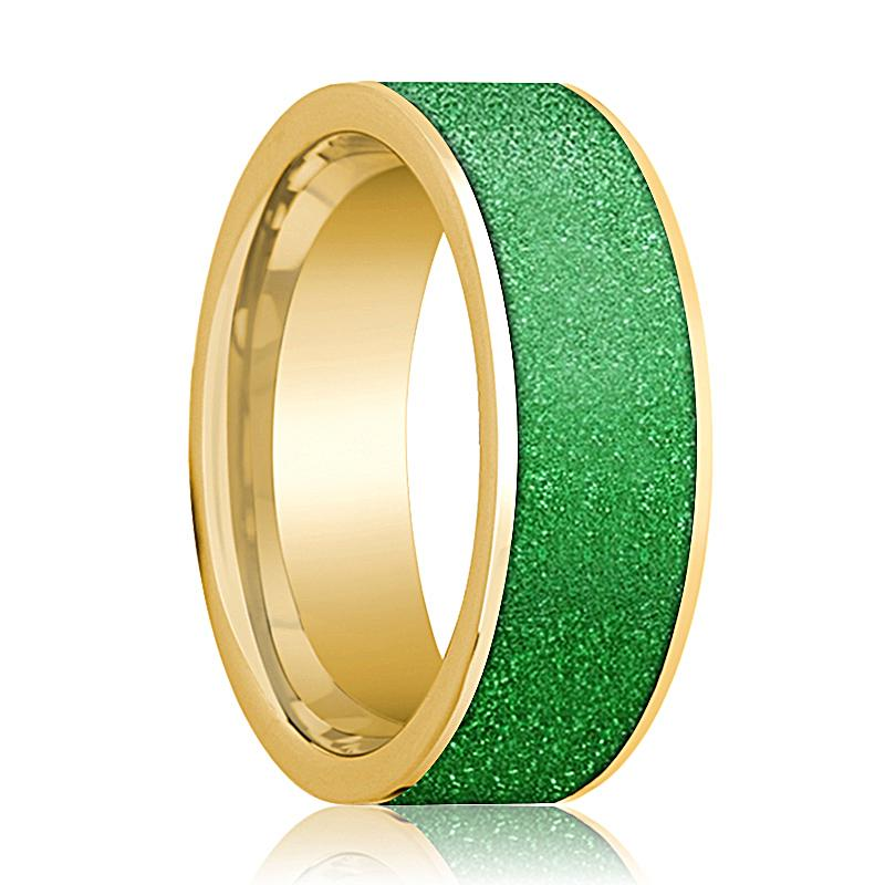 Mens Wedding Band 14K Yellow Gold with Textured Green Inlay Flat Polished Design - AydinsJewelry