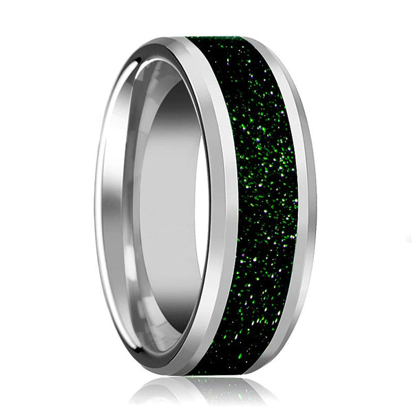 Tungsten Green Goldstone Inlay - Tungsten Wedding Band - Beveled - Polished Finish - 8mm - Tungsten Wedding Ring - AydinsJewelry