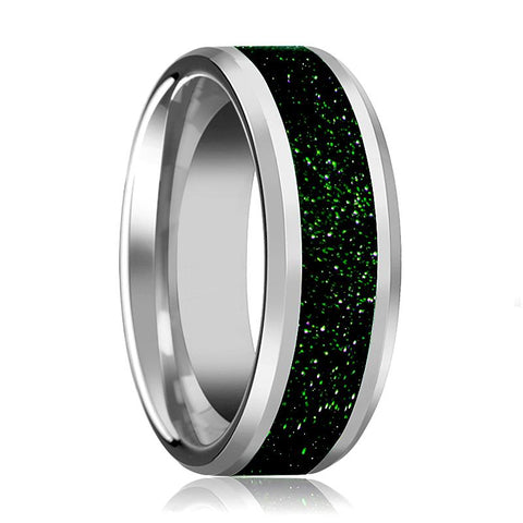 Image of Tungsten Green Goldstone Inlay - Tungsten Wedding Band - Beveled - Polished Finish - 8mm - Tungsten Wedding Ring - AydinsJewelry