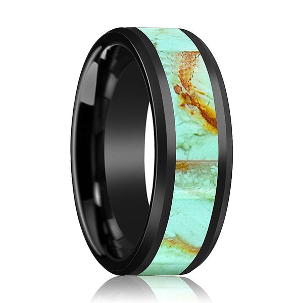 Black Ceramic Ring - Light Blue Turquoise Stone Inlay  - Ceramic Wedding Band - Beveled - Polished Finish - 8mm - Ceramic Wedding Ring - AydinsJewelry