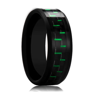 Black Tungsten Ring with Green Carbon Fiber Inlay - Rings - Aydins_Jewelry