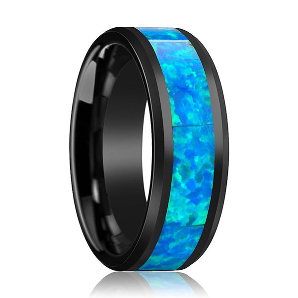 Black Ceramic Ring - Blue & Green Opal Inlay  - Ceramic Wedding Band - Beveled - Polished Finish - 4mm - 6mm - 8mm - 10mm - Ceramic Opal - AydinsJewelry