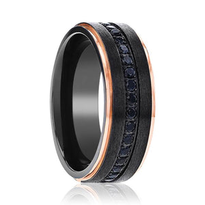 SOLKAN Black Titanium Men's Wedding Band with a Center Groove of Inset Black Sapphire and Rose Gold Edges