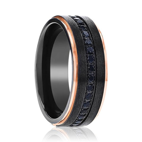 Image of SOLKAN Black Titanium Men's Wedding Band with a Center Groove of Inset Black Sapphire and Rose Gold Edges