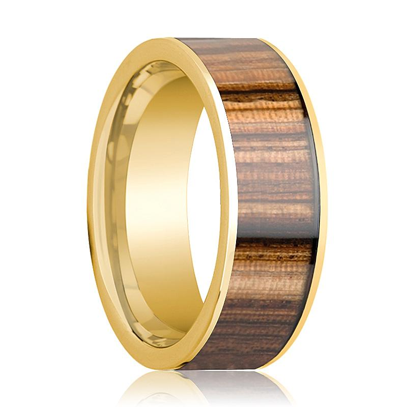 Mens Wedding Ring 14K Yellow Gold Polished Wedding Band with Zebra Wood Inlay - 8mm - AydinsJewelry