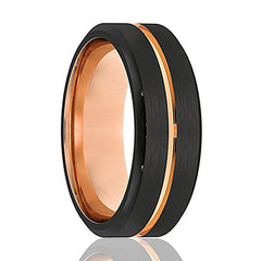 Mens Wedding Band - Tungsten Wedding Band - Black Tungsten Rose Gold Ring Groove Beveled Edge - Tungsten Wedding Ring - Man Tungsten Ring - 8mm - AydinsJewelry