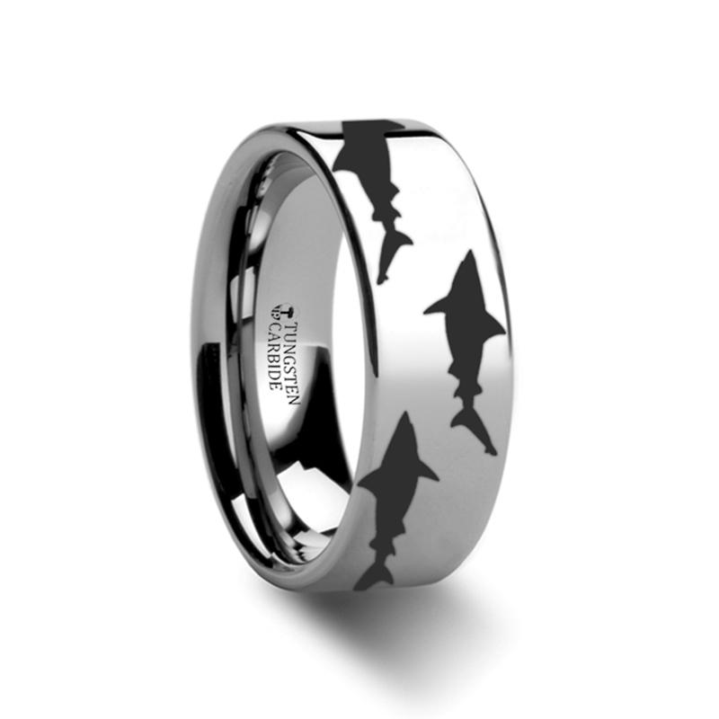 Sea Pattern - Shark Predator Fish - Sea Print Ring - Laser Engraved - Flat Tungsten Ring - 4mm - 6mm - 8mm - 10mm - 12mm - AydinsJewelry