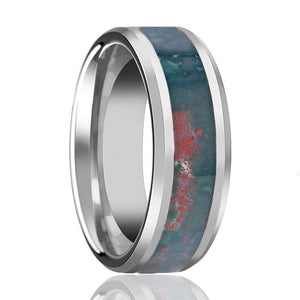 GORE Beveled Men's Tungsten Wedding Band with Blood Stone Inlay Polished Finish - Rings - Aydins_Jewelry