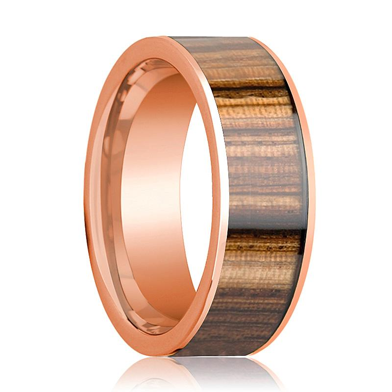 14k Rose Gold Men's Wedding Band with Zebra Wood Inlay Flat Polished - 8MM - Rings - Aydins_Jewelry