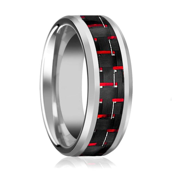 Aydins Mens Tungsten Wedding Band w/ Red Carbon Fiber Inlay Beveled Edges 8mm Tungsten Carbide Ring - AydinsJewelry