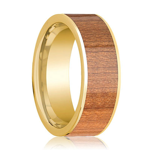 Image of Mens Wedding Band 14k Yellow Gold Flat Wedding Ring with Sapele Wood Inlay Polished - 8mm - AydinsJewelry