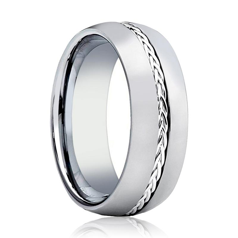 Aydins Mens Tungsten Wedding Band Polished w/ Sterling Silver Braided Insert Center 8mm Tungsten Carbide Ring - AydinsJewelry