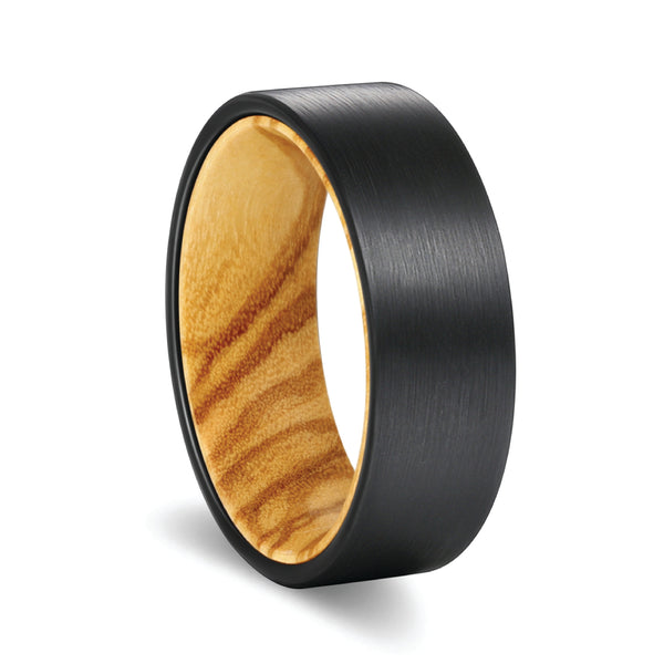 Flat Black Brushed Tungsten Olive Wood Sleeve Inlay Ring