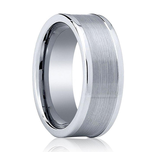 Aydins Tungsten Carbide Wedding Band Brushed Flat 8mm Tungsten Mens Ring - AydinsJewelry