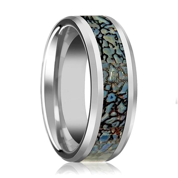 Dinosaur Bone Ring - Blue Dinosaur Bone Inlay - Tungsten Wedding Band - Beveled - Polished Finish - 4mm - 8mm - Tungsten Wedding Ring - AydinsJewelry