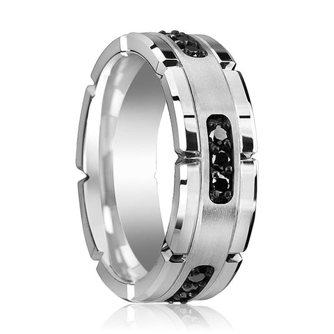 Image of SURYA Tungsten Wedding Band Grooved with Silver Inlay & Black Diamond