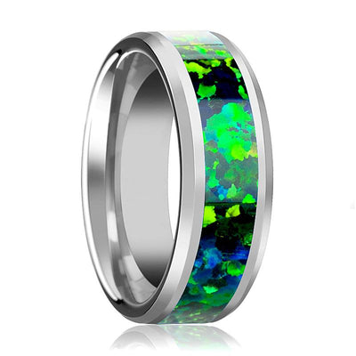 Tungsten Opal Ring - Green Blue Opal Inlay - Tungsten Wedding Band - Beveled - Polished Finish - 6mm - 8mm - Tungsten Wedding Ring - AydinsJewelry