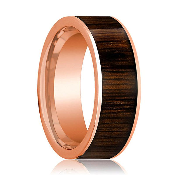 Mens Wedding Band Polished Flat 14k Rose Gold Wedding Ring with Black Walnut Wood Inlay  - 8mm - AydinsJewelry