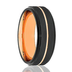 Mens Wedding Band - Tungsten Wedding Band - Black Tungsten Small Rose Gold Groove Stepped Edge  - Tungsten Wedding Ring - Man Tungsten Ring - 8mm - AydinsJewelry