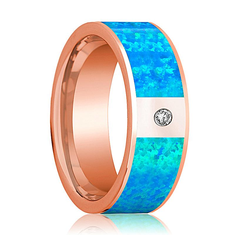 Mens Wedding Band 14K Rose Gold with Blue Opal Inlay and Diamond Flat Polished Design - AydinsJewelry