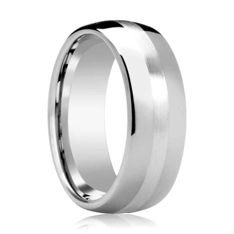 Domed Men's Tungsten Wedding Band with Sterling Silver Stripe Inlay Polished Finish - 6MM - 8MM - Rings - Aydins_Jewelry