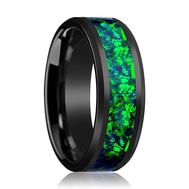Black Ceramic Ring - Emerald Green & Sapphire Blue Color Opal Inlay  - Ceramic Wedding Band - Beveled - Polished Finish - 6mm - 8mm - AydinsJewelry