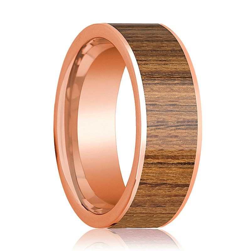 Mens Wedding Band Polished Flat 14k Rose Gold Wedding Ring with Teak Wood Inlay - 8mm - AydinsJewelry