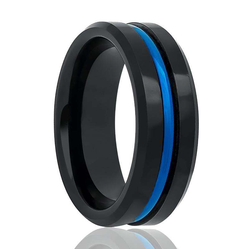 High Polished Tungsten Wedding Band for Men with Blue Groove in Center & Beveled Edges - 6MM - 8MM - Rings - Aydins_Jewelry