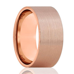 Tungsten Wedding Band - Men and Women - Comfort Fit - Flat Rose Gold Brushed Beveled Edge - Tungsten Carbide Wedding Ring - 4mm - 6mm - 12mm - AydinsJewelry