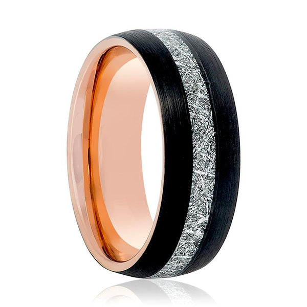 Aydins Rose Gold & Black with Meteorite Inlay Tungsten Mens Ring 8mm Tungsten Carbide Wedding Band - AydinsJewelry