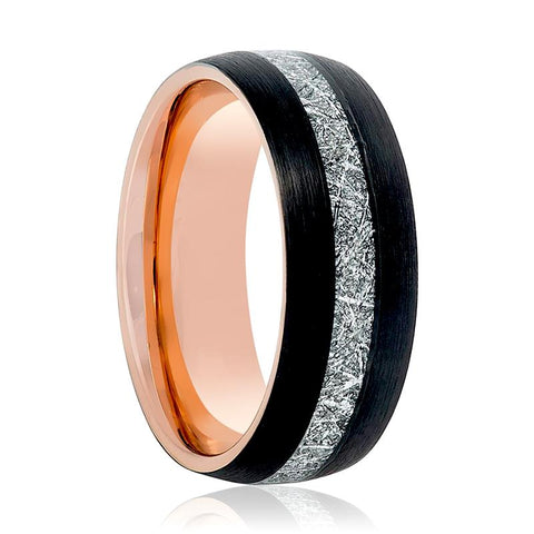 Image of Aydins Rose Gold & Black with Meteorite Inlay Tungsten Mens Ring 8mm Tungsten Carbide Wedding Band - Rings - Aydins_Jewelry