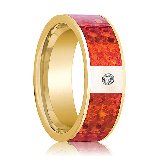 Mens Wedding Band 14K Yellow Gold with Red Opal Inlay & Diamond Flat Polished Design - AydinsJewelry