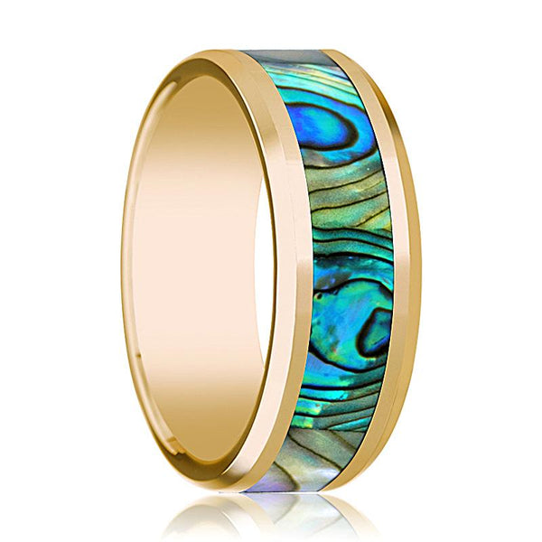 Mens Wedding Band 14K Yellow Gold with Mother of Pearl Inlay Beveled Edge Polished Design - AydinsJewelry
