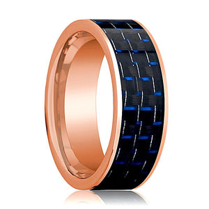 Mens Wedding Band 14K Rose Gold with Blue & Black Carbon Fiber Inlay Flat Polished Design - AydinsJewelry