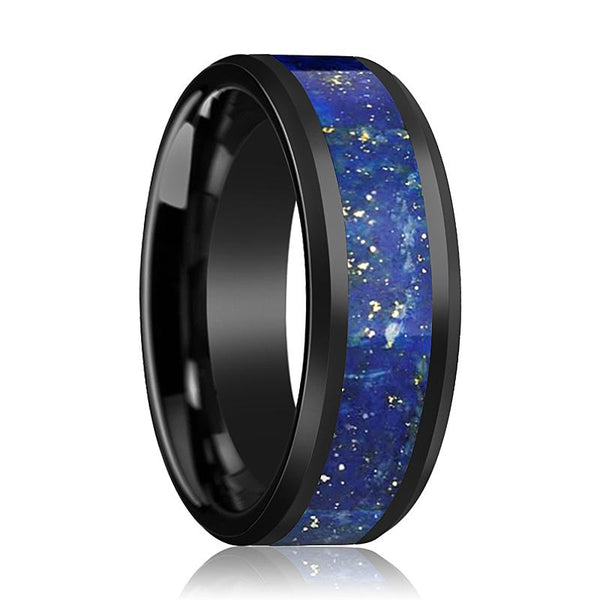 Black Ceramic Ring - Blue Lapis Inlay - Ceramic Wedding Band - Beveled - Polished Finish - 8mm - Ceramic Wedding Ring - AydinsJewelry