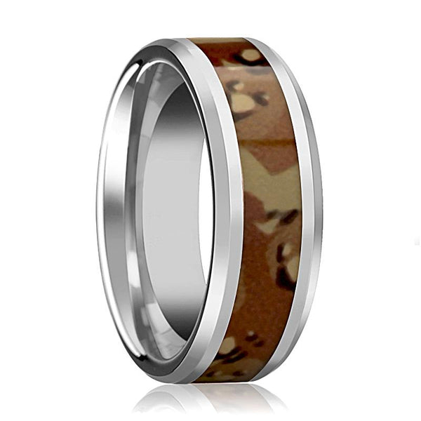 Military Camo Ring - Desert Camo - Tungsten Wedding Band - Beveled - Polished Finish - 8mm - Tungsten Wedding Ring - AydinsJewelry