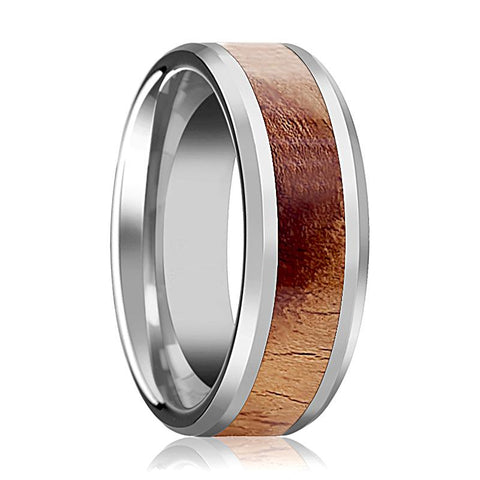 Image of Tungsten Wood Ring - Olive Wood Inlaid - Tungsten Wedding Band - Polished Finish - 8mm - Tungsten Wedding Ring - AydinsJewelry