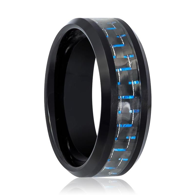 Men's Black Tungsten Wedding Band with Blue Carbon Fiber Inlay & Polished Beveled Edges - 8MM