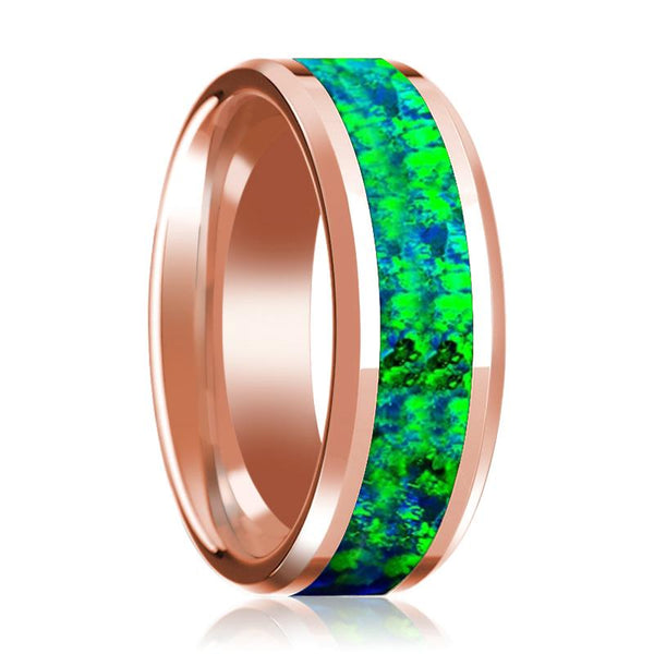 Green & Blue Opal Inlay Beveled Edge Mens Wedding Band 14K Rose Gold Polished Design