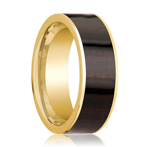 Mens Wedding Band Polished 14k Yellow Gold Flat Wedding Ring with Ebony Wood Inlay - 8mm - AydinsJewelry