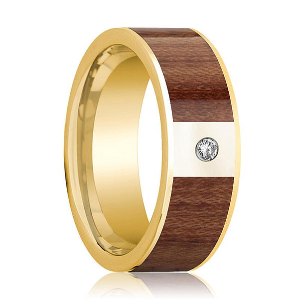 Mens Wedding Band Polished 14k Yellow Gold Men's Flat Wedding Ring with Rose Wood Inlay & Diamond - 8mm - AydinsJewelry