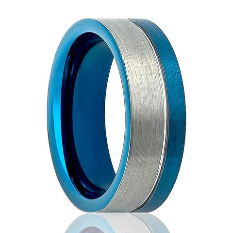Image of Aydins Tungsten Wedding Ring Two-Tone Silver & Off Center Blue Groove Brushed Finish Pipe Cut 8mm Tungsten Carbide Ring - Rings - Aydins_Jewelry